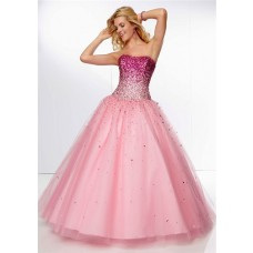 Gorgeous Ball Gown Strapless Long Pink Tulle Ombre Beaded Prom Dress Corset Back