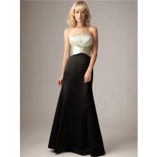 Mermaid strapless empire floor length long ivory black satin bridesmaid dress