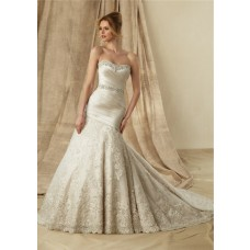 Mermaid Strapless Sweetheart Ruched Satin Lace Champagne Wedding Dress With Beaded Sash Buttons