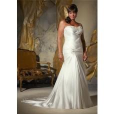 Mermaid Sweetheart Corset Back Draped Silk Satin Plus Size Wedding Dress With Ruching
