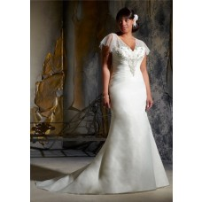 Mermaid V Neck Flare Sleeve Sheer Back Organza Beaded Plus Size Wedding Dress With Crystals
