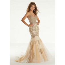 Mermaid Backless Champagne Tulle Lace Prom Dress Criss Cross