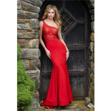 Mermaid One Shoulder Red Satin Lace Evening Prom Dress