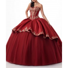 Ball Gown Red Prom Dress With Gold Embroidery