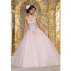 Quinceanera Dress Ball Gown Light Pink Tulle Beaded Prom Dress Illusion Neckline