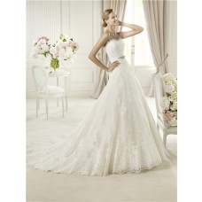 Romantic Princess A Line Strapless Vintage Tulle Lace Wedding Dress With Crystal Sash
