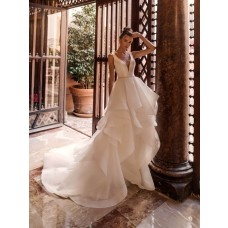 Romantic Wedding Dress Deep V Neck Low Back With Organza Ruffles