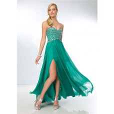 Sexy A Line Sweetheart Open Back Long Emerald Green Chiffon Beaded Prom Dress With Slit