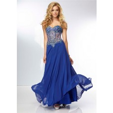 A Line Sweetheart Sheer See Through Corset Long Royal Blue Chiffon Beaded Prom Dress