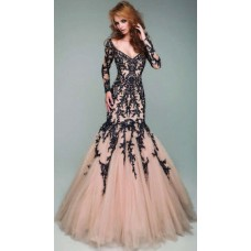 Sexy Mermaid V Neck Champagne Tulle Black Lace Long Sleeve Evening Prom Dress