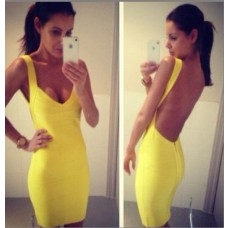 Sexy v neck backless yellow bandage bodycon dress