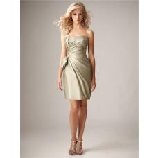 Sheath Column Sweetheart Mini Short Silk Satin Ruched Bridesmaid Dress
