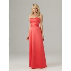 Sheath sweetheart floor length long coral satin ruched bridesmaid dress