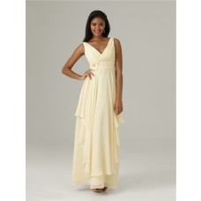 Sheath v neck long daffodil chiffon bridesmaid dress with flowers Ruffles