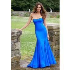 Simple Mermaid Strapless Royal Blue Satin Plain Evening Prom Dress
