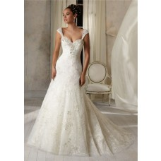 Slim A Line Princess Sweetheart Tulle Lace Crystal Wedding Dress Detachable Straps