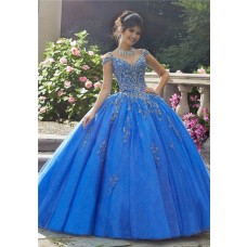 Stunning Ball Gown Prom Dress Blue Tulle Beaded Quinceanera Dress Cold Shoulder Drop Waist