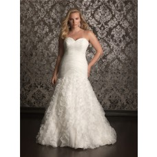 Trumpet/ Mermaid sweetheart chapel train organza plus size wedding dress with corset and ruffles