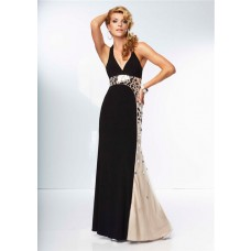 Unique Sheath Halter Backless Long Nude Black Chiffon Rhinestone Prom Dress Open Back