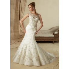 Vintage Mermaid Bateau Illusion Neckline Low Back Lace Beaded Wedding Dress With Pearls